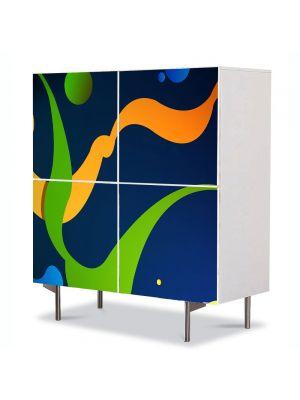Comoda cu 4 Usi Art Work Abstract Pete de culoare, 84 x 84 cm