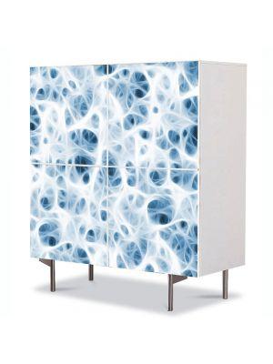 Comoda cu 4 Usi Art Work Abstract Celule albe, 84 x 84 cm
