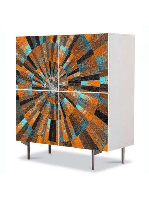 Comoda cu 4 Usi Art Work Abstract Spirala gravata, 84 x 84 cm