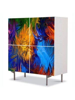 Comoda cu 4 Usi Art Work Abstract Centru de culoare, 84 x 84 cm