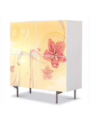 Comoda cu 4 Usi Art Work Abstract Flori portocalii, 84 x 84 cm