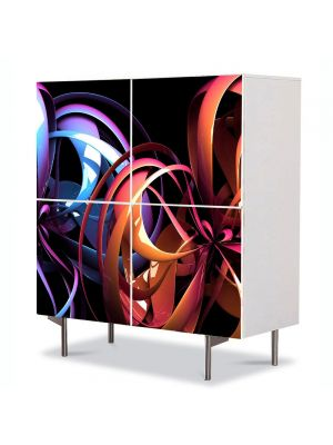 Comoda cu 4 Usi Art Work Abstract Flori de plastic, 84 x 84 cm