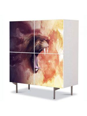 Comoda cu 4 Usi Art Work Abstract Ragetul leului, 84 x 84 cm
