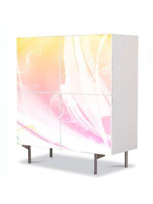 Comoda cu 4 Usi Art Work Abstract Degrade galben-roz, 84 x 84 cm