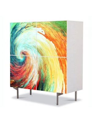 Comoda cu 4 Usi Art Work Abstract Spirala de culori, 84 x 84 cm