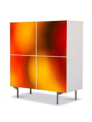 Comoda cu 4 Usi Art Work Abstract Pete de lumina portocalie, 84 x 84 cm