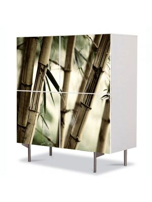 Comoda cu 4 Usi Art Work Abstract Tulpini de bambus, 84 x 84 cm