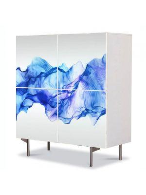 Comoda cu 4 Usi Art Work Abstract Matase albastra, 84 x 84 cm