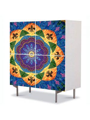 Comoda cu 4 Usi Art Work Abstract Mandala multicolora, 84 x 84 cm