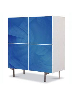 Comoda cu 4 Usi Art Work Abstract Albastru simplu, 84 x 84 cm
