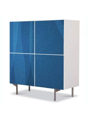 Comoda cu 4 Usi Art Work Abstract Perdea albastra, 84 x 84 cm