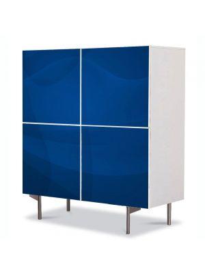 Comoda cu 4 Usi Art Work Abstract Albastru calm, 84 x 84 cm