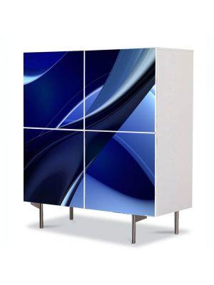 Comoda cu 4 Usi Art Work Abstract Albastru inchis, 84 x 84 cm