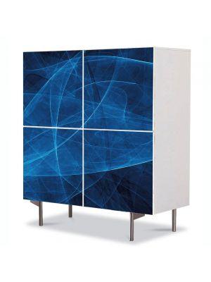 Comoda cu 4 Usi Art Work Abstract Albastru translucid, 84 x 84 cm