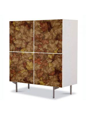 Comoda cu 4 Usi Art Work Abstract Covor de frunze, 84 x 84 cm