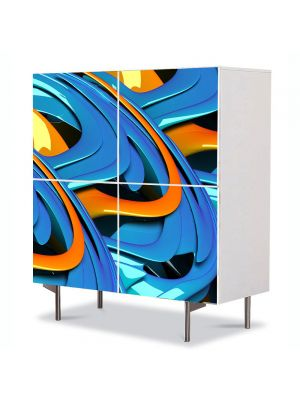 Comoda cu 4 Usi Art Work Abstract Albastru topit, 84 x 84 cm