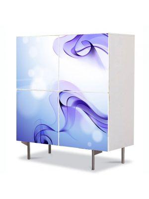 Comoda cu 4 Usi Art Work Abstract Matase violet, 84 x 84 cm