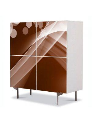 Comoda cu 4 Usi Art Work Abstract Maro cald, 84 x 84 cm