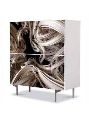 Comoda cu 4 Usi Art Work Abstract Panglica aurie, 84 x 84 cm
