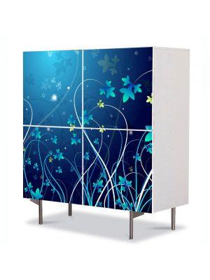 Comoda cu 4 Usi Art Work Abstract Plante, 84 x 84 cm
