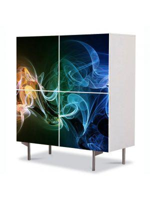 Comoda cu 4 Usi Art Work Abstract Fum verzui, 84 x 84 cm