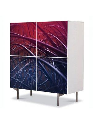 Comoda cu 4 Usi Art Work Abstract Cabluri, 84 x 84 cm