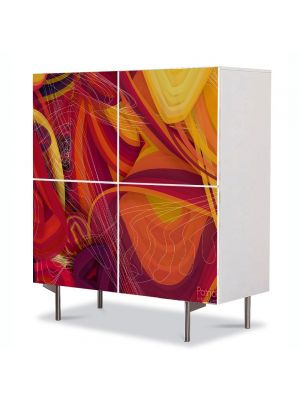 Comoda cu 4 Usi Art Work Abstract Retro, 84 x 84 cm