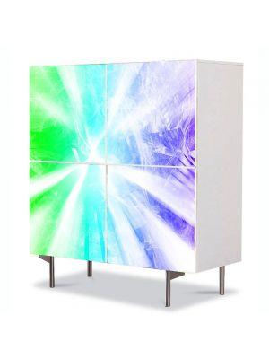 Comoda cu 4 Usi Art Work Abstract Raze albe, 84 x 84 cm