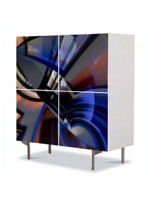 Comoda cu 4 Usi Art Work Abstract Etajare, 84 x 84 cm