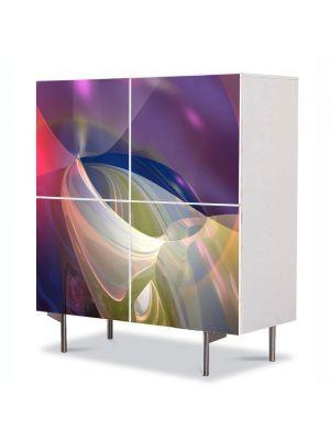 Comoda cu 4 Usi Art Work Abstract Lumini retro calde, 84 x 84 cm