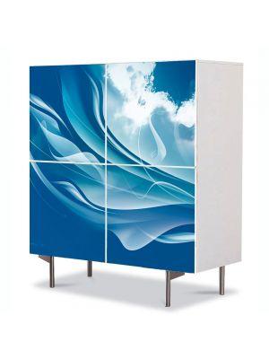 Comoda cu 4 Usi Art Work Abstract Ocean stilizat, 84 x 84 cm