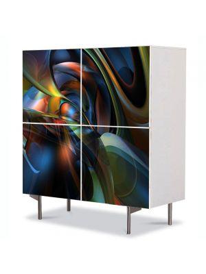 Comoda cu 4 Usi Art Work Abstract Valuri, 84 x 84 cm