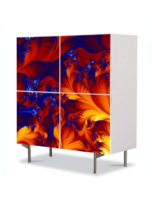 Comoda cu 4 Usi Art Work Abstract Frunze stilizate, 84 x 84 cm