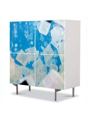 Comoda cu 4 Usi Art Work Abstract Cuburi transparente, 84 x 84 cm