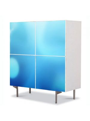 Comoda cu 4 Usi Art Work Abstract Lumini albastre, 84 x 84 cm