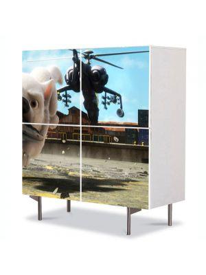 Comoda cu 4 Usi Art Work pentru Copii Animatie Bolt Alergand cu Bomba , 84 x 84 cm