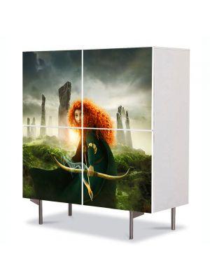 Comoda cu 4 Usi Art Work pentru Copii Animatie Brave Merida , 84 x 84 cm