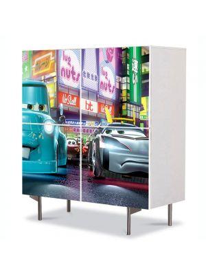 Comoda cu 4 Usi Art Work pentru Copii Animatie Cars Pixar Film , 84 x 84 cm