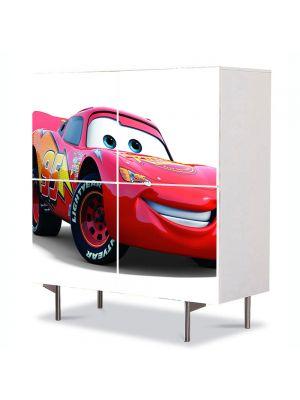 Comoda cu 4 Usi Art Work pentru Copii Animatie Masina McQueen , 84 x 84 cm