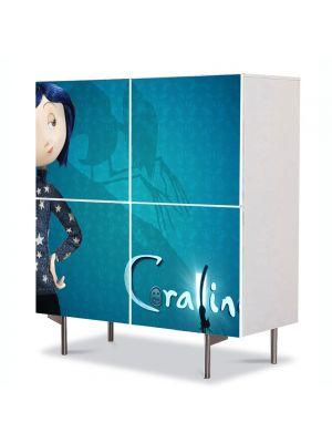 Comoda cu 4 Usi Art Work pentru Copii Animatie Coraline Jones , 84 x 84 cm