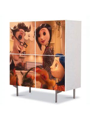 Comoda cu 4 Usi Art Work pentru Copii Animatie Parintii si Coraline , 84 x 84 cm