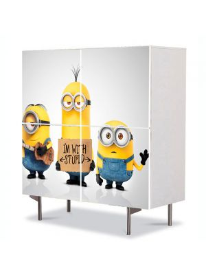 Comoda cu 4 Usi Art Work pentru Copii Animatie Minionii 2015 , 84 x 84 cm