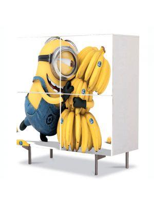 Comoda cu 4 Usi Art Work pentru Copii Animatie Minionul si Banana , 84 x 84 cm