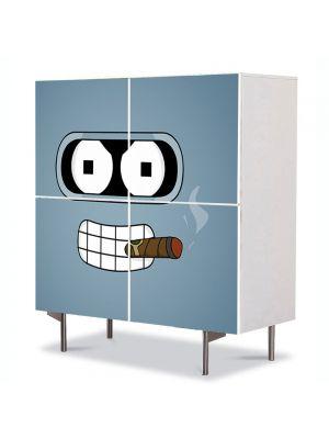 Comoda cu 4 Usi Art Work pentru Copii Animatie Futurama Bender cu Trabuc , 84 x 84 cm