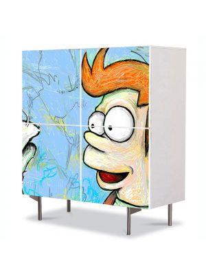 Comoda cu 4 Usi Art Work pentru Copii Animatie Futurama Fry , 84 x 84 cm