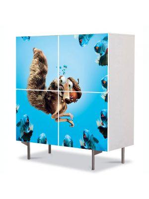Comoda cu 4 Usi Art Work pentru Copii Animatie Ice Age The Meltdown , 84 x 84 cm