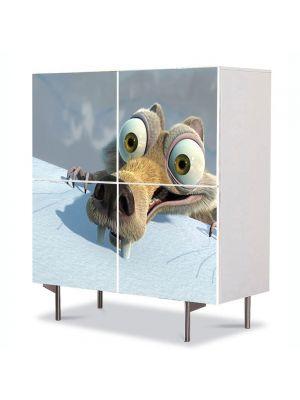 Comoda cu 4 Usi Art Work pentru Copii Animatie Veverita din Ice Age , 84 x 84 cm