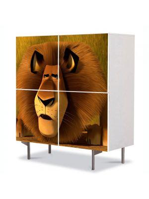 Comoda cu 4 Usi Art Work pentru Copii Animatie Madagascar 3 Leul Alex , 84 x 84 cm