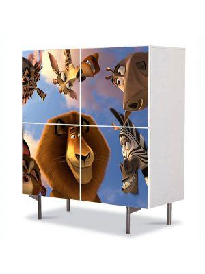 Comoda cu 4 Usi Art Work pentru Copii Animatie Animalele din Madagascar 3 , 84 x 84 cm