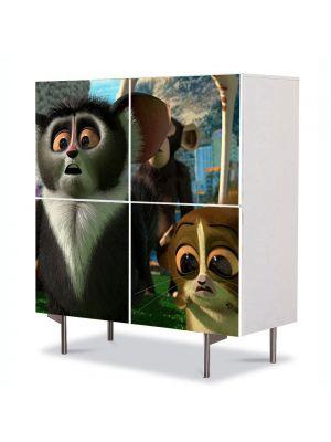Comoda cu 4 Usi Art Work pentru Copii Animatie Madagascar 3 Mort , 84 x 84 cm